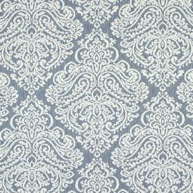 Simin - Denim - Grey cotton and polyester blend fabric with a slight hint of blue, and a large, white, ornate pattern printed on top