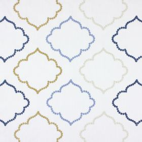 Karim - Denim - Fabric made from white polyester and cotton embroidered with curved, hollow shapes in white, gold and two shades of blue