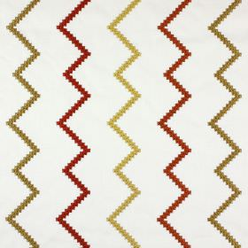 Sassan - Russet - Alternating gold and terracotta coloured zigzags embroidered on a grey-white polyester & cotton blend fabric background