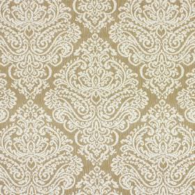 Simin - Antique - A large, ornate design made up of white lines on caramel coloured cotton and polyester blend fabric