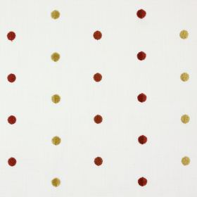 Mina - Russet - Burnt orange, cream and red dots as an embroidered polka dot design on white-grey fabric blended from polyester and cotton