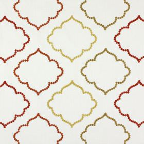 Karim - Russet - Polyester and cotton blend fabric in white, embroidered with hollow shapes in light brown, cream, red and burnt orange