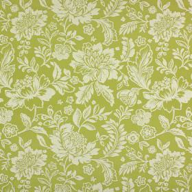 Sara - Apple - Large, off-white flowers and leaves on a background of green-gold cotton and polyester blend fabric