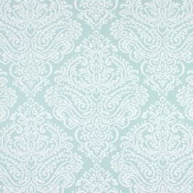 Simin - Aqua - Large, ornate white patterns on a plain pale duck egg blue coloured fabric background made from cotton and polyester