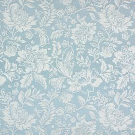 Sara - Colonial - Subtly patterned cotton and polyester blend fabric in ice blue with a pale grey floral and leaf design