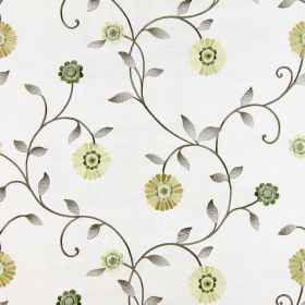 Maggiore - Chartreuse - Very pale grey-white coloured fabric, embroidered with cream, gold and green flowers and brown-grey stems and leaves