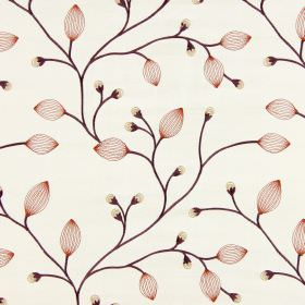 Reggio - Sunset - Off-white fabric embroidered with dark stems, cream buds and translucent rust coloured leaves