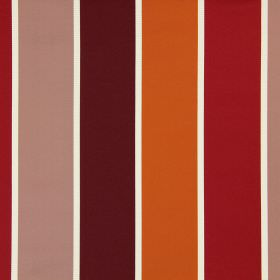 Lecco - Sunset - Different shades of dark red-pink and orange making up wide stripes which are interspersed with white on cotton fabric
