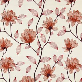 Lago - Sunset - Translucent flowers and leaves embroidered in dark, rusty red tones on cream coloured fabric