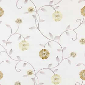 Maggiore - Honey - Fabric which has been embroidered with a floral design in different shades of cream, beige and gold