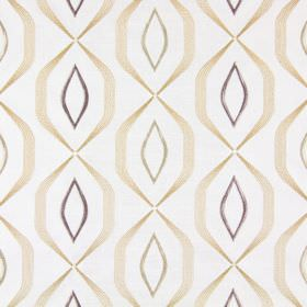 Lugano - Honey - Off-white coloured fabric embroidered with geometric lines and shapes in several different shades of gold