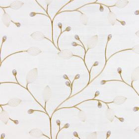 Reggio - Honey - A mixture of solid and translucent gold and grey buds, leaves and stems embroidered on fabric in an off-white colour