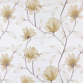 Lago - Honey - Flowers, stems and leaves embroidered in different shades of gold on a light beige coloured fabric background