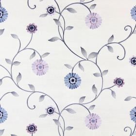 Maggiore - Porcelain - Off-white fabric with an embroidered pattern of pastel blue, purple and grey leaves, flowers and stems