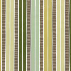 Garda - Chartreuse - White cotton fabric featuring vertical grey stripes between pairs of minty green, forest green, cream and gold stripes