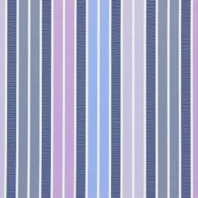 Garda - Porcelain - Pastel shades of purple, blue, pink and grey printed as a vertical stripe design on cotton fabric in white