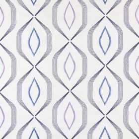 Lugano - Porcelain - Fabric  embroidered with angular grey lines and pastel blue and pink pointed ovals