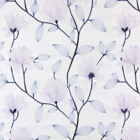 Lago - Porcelain - Cream coloured fabric embroidered with pastel blue and purple coloured flowers and leaves