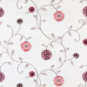 Maggiore - Blossom - Pink and purple flowers embroidered with silver-lilac coloured stems and leaves on cream coloured fabric