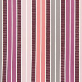 Garda - Blossom - Vertical stripes in different, unusual shades of pink and brown on white cotton fabric