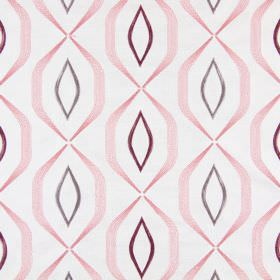 Lugano - Blossom - Geometric shapes and lines embroidered in pinks and purples on a background of white fabric
