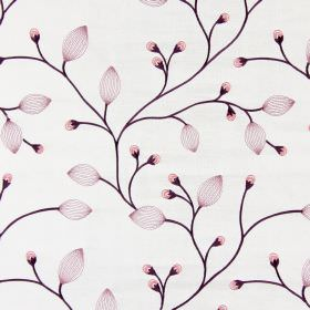 Reggio - Blossom - Pink buds embroidered with translucent leaves and solid dark purple stems on pale cream-grey coloured fabric