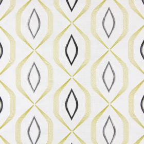 Lugano - Chartreuse - White fabric embroidered with angular gold coloured lines and pointed grey ovals