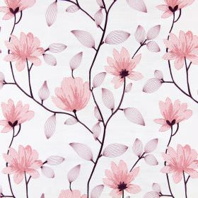 Lago - Blossom - Dusky pink flowers with light purple leaves embroidered with solid dark purple stems on off-white coloured fabric