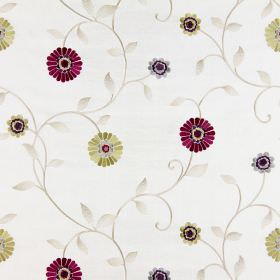 Maggiore - Mulberry - Dark purple, gold and cream coloured flowers, leaves and stems embroidered on fabric in a warm cream colour