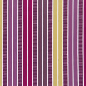 Garda - Mulberry - Striped cotton fabric with vertical bands of white, dark brown, purple, raspberry and honey colours