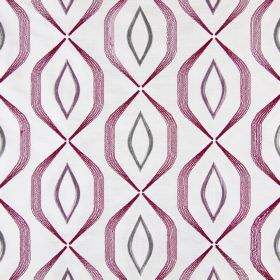 Lugano - Mulberry - Grey and light purple pointed ovals embroidered with angular purple lines on fabric