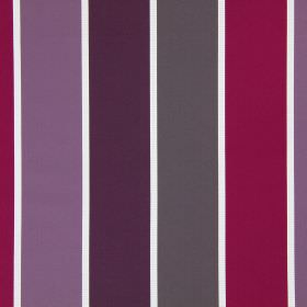 Lecco - Mulberry - A striped design in dark pink, purple, aubergine and grey shades, on a white fabric background made from cotton