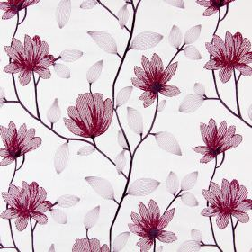 Lago - Mulberry - Dark purple stems embroidered with translucent purple leaves and dark marroon flowers on fabric in a pale shade of grey