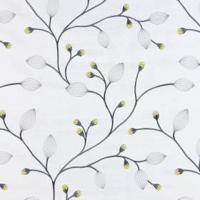 Reggio - Chartreuse - Very pale grey fabric, embroidered with solid grey stems, translucent grey leaves, and small yellow buds