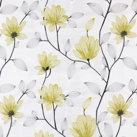 Lago - Chartreuse - White fabric patterned with solid grey stems, translucent grey leaves and yellow-gold flowers