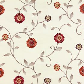 Maggiore - Sunset - Dark orange and burgundy coloured flowers embroidered alongside light brown stems and leaves on off-white fabric