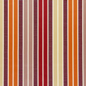 Garda - Sunset - Cotton fabric in white beneath a striped pattern in orange, copper, scarlet, honey and dark brown-purple colours