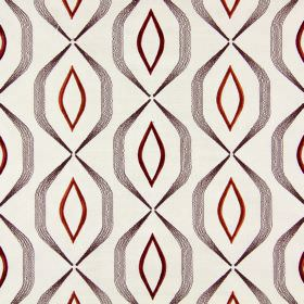 Lugano - Sunset - Cream coloured fabric which has been embroidered with angular grey lines and rusty red geometric shapes