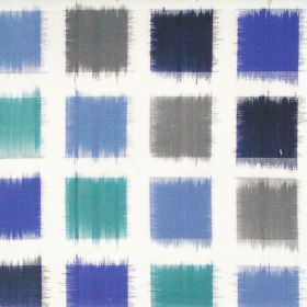 Lakota - Cobalt - Cobalt blue squares on white fabric