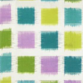 Lakota - Foxglove - Foxglove purple and green squares on white fabric