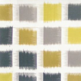 Lakota - Olive - Olive green and grey squares on white fabric
