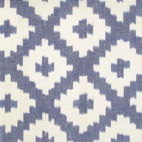 Karok - Cobalt - Cobalt blue cross-hatched fabric