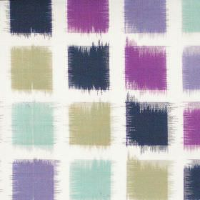 Lakota - Amethyst - Amethyst purple squares on white fabric