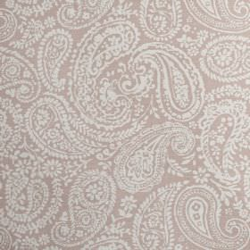 Langden - Blossom - Pretty white paisley shapes printed on a light lilac coloured 100% cotton fabric background