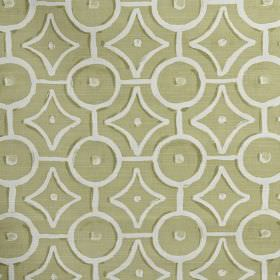 Longridge - Fennel - White circles, dots and geometric shapes printed in a regular design on light beige coloured 100% cotton fabric