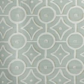 Longridge - Eau de nil - Pale blue coloured 100% cotton fabric printed with a simple white design of circles, dots and geometric shapes