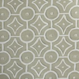 Longridge - String - Dove grey and white 100% cotton fabric featuring a simple pattern of circles, dots and geometric shapes