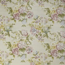 Bowland - Blossom - Pretty florals printed in light shades of green, pink and cream on 100% cotton fabric in a very pale shade of grey