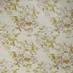 Bowland - Eau de nil - Pale sepia, green and off-white shades making up a pretty, subtle floral pattern on fabric made entirely from cotton
