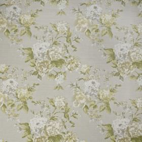 Bowland - Willow - Pale grey 100% cotton fabric printed with a pretty, subtle floral design in off-white and light grey and green shades